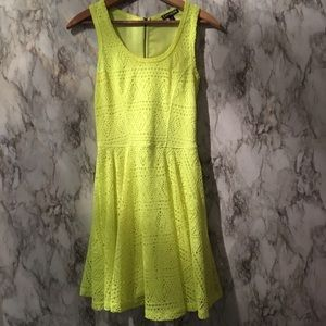 Bright Yellow Knit Skater Dress